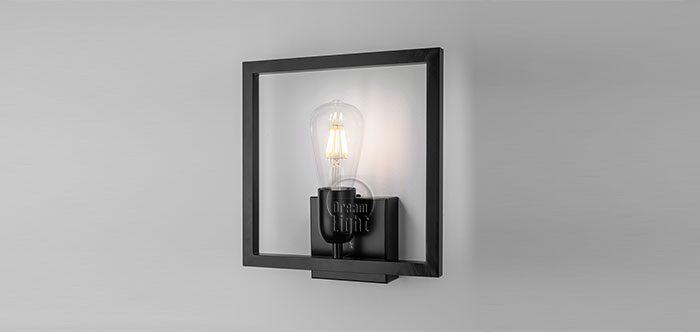 מנורת קיר מרובע מתכת בודד