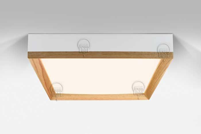 גוף תאורה מעץ סקוור אלון+לבן