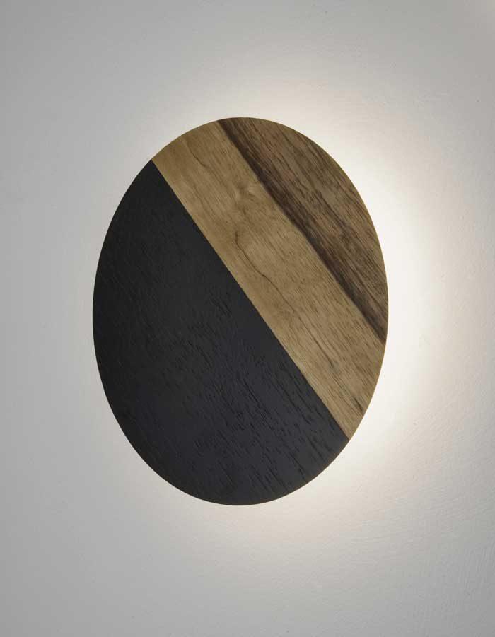 """גוף תאורה מעץ """"צלחת קיר חצי צבע"""""""