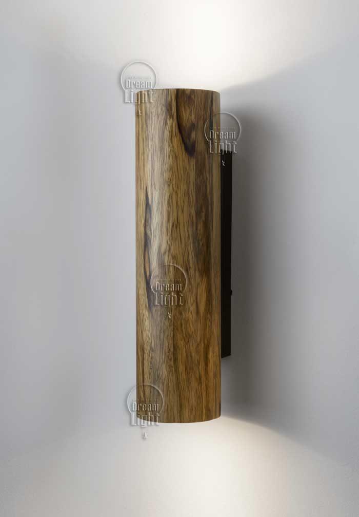 """גוף תאורה מעץ """"צילינדר אפדאון אגוז אפריקאי"""""""